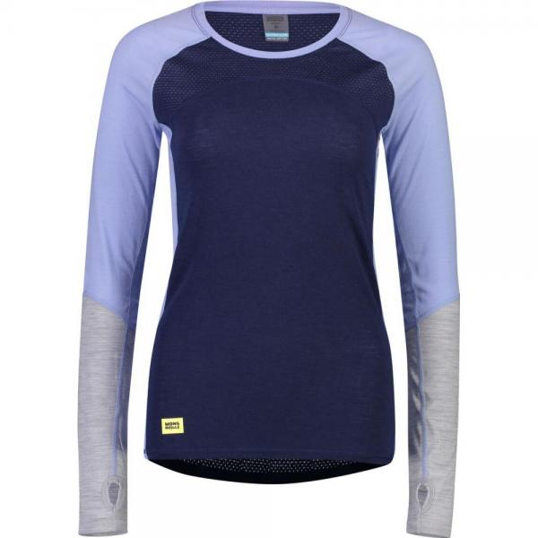 Bluze termice Mons Royale Bella Tech LS Navy / Blue Fog / Grey Marl