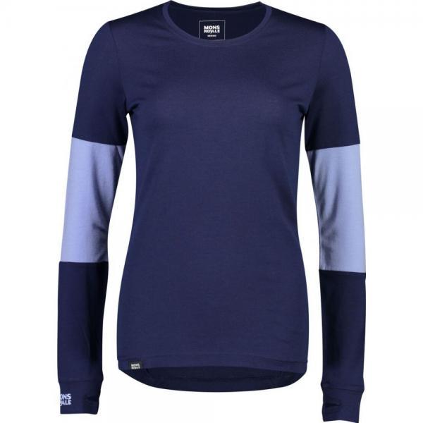 Bluze termice Mons Royale Cornice LS Navy / Blue Fog